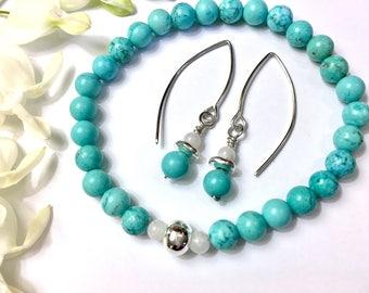 Boho Bracelet Earrings Turquoise Moonstone Jewelry Set Aqua Bead Bracelet Girlfriend Birthday Gift for Her Mom Gift Daughter Gift Wife Gift