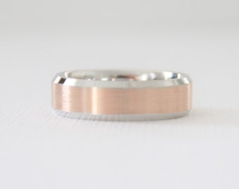 Handmade Beveled Men's Wedding Band in 14K Two Tone White and Rose Gold
