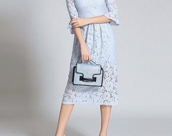 Spring Blue  Royals Lace Dress