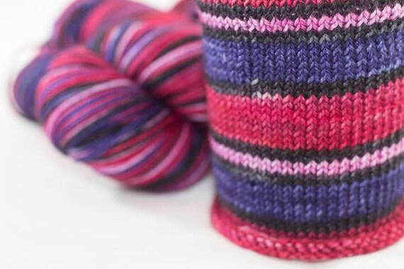 Hand Dyed Self Striping Sock Yarn / Scorpio Colorway / Zodiac Inspired Colorway / Superwash Merino and Nylon Fingering Yarn / Ready to Ship