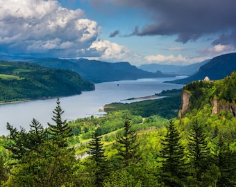 View of Crown Point and the Columbia River, Columbia River Gorge, Oregon. Photo Print, Metal, Canvas, Framed.