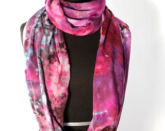 """Ice Dyed Tie Dyed Rayon Circular  Infinity Scarf, Shades Of Pink And Purple, 77"""" around by 21"""" wide, Made To Order"""
