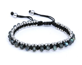 bracelet rodium labradorite