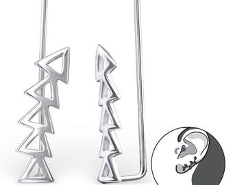 Geometric climber earrings cuff pins sterling silver