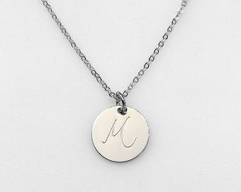 Personalized Hand stamped Silver Disc Necklace, Personalized Gift, Initial Necklace, Thin disc Necklace, Graduation gift, 15mm Disc