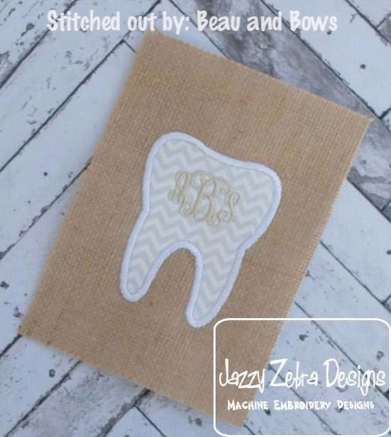 Tooth Applique embroidery Design - tooth Applique Design - tooth fairy Applique Design - dentist Applique Design