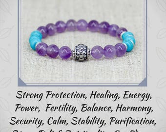 Aquarius zodiac jewelry Amethyst bracelet Turquoise jewelry Birthday gift for mom gift for wife gift for girlfriend gift for sister gift her