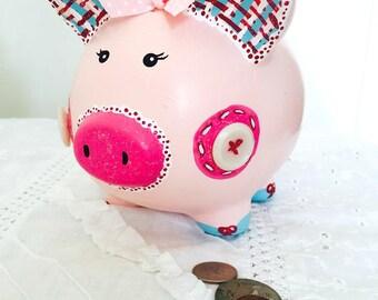 Personalized Piggy Bank, Medium Sized Piggy Bank, Pink Piggy Bank, Ceramic Coin Bank, Hand Painted Bank