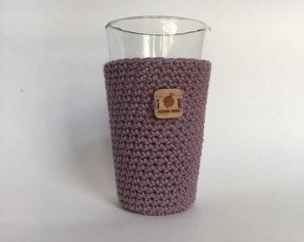 Pint Glass Sleeve, Lavender - beer cozy - pint glass cozy - crochet cup sleeve - cold cup sleeve cold beverage sleeves