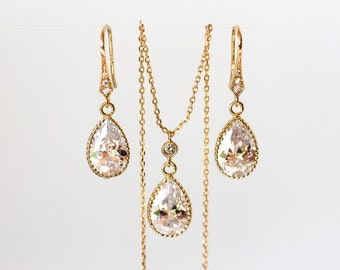 Bridal jewelry set Gold teardrop jewellery set Gold earrings Crystal necklace Crystal bridal jewelry Wedding jewelry set Jewelry bridal 418