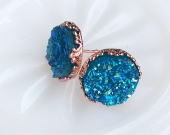 Ocean Blue Druzy Earrings, Turquoise Blue and Rose Gold Tone Crown Setting Druzy Studs, Boho Spatkle Festival Jewelry