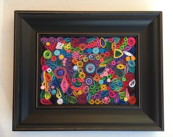 Original Paper Quilled Mosaic, Framed