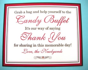 8x10 Flat Wedding Candy Buffet Sign in Black and Red - READY TO SHIP