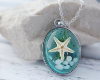 Ocean Necklace Real Starfish Necklace Nautical Necklace Starfish Pendant Blue Resin Nature Necklace  Starfish Necklace Sea Necklace Gift