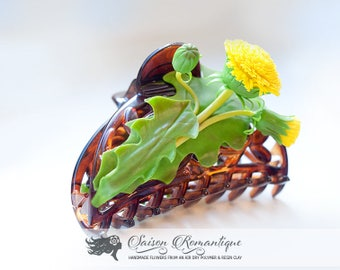 Jaw clip Dandelions - Polymer Clay Flowers - Mothers Day Gift for Women Jaw clip Yellow Gift For Her Flower Dandelions Jaw
