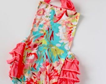 Floral Ruffle Butt Romper. Summer Floral Ruffled Romper. Floral Jumpsuit.