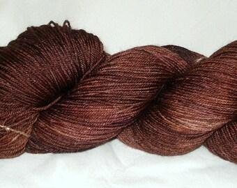 Chestnut Tonal Umpqua Hand Dyed Fingering Weight Sock Yarn 4 oz  433 yards