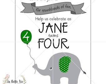 Digital Elephant Birthday Party Invitation, Thank You, Bundle