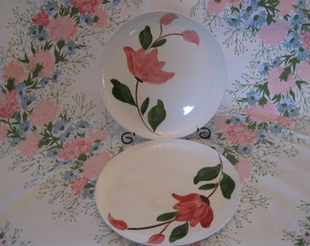 Pair of Antique Rio Stetson Underglaze Handpainted Pink Floral Dinner Plates or Serving Plates
