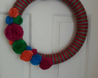 Yarn Wreath, Fall Yarn Wreath, Yarn Wreath Fall, Yarn Wreath for Front Door, Yarn Wrapped Wreath, Flower Wreath, Home Decor,Pink Wrapped