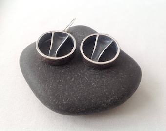 Textured earrings silver,  Earrings textured, sterling .  Silver earrings, simple, handmade, silver earrings patina, round