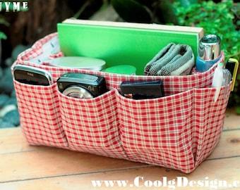 Hangbag Organizer Insert, Sturdy, Multi-Pocket-Red Plaid-Medium