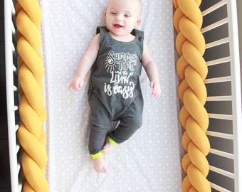 Mustard Yellow Braided Crib Bumper - Knot Pillow, Knot Cushion, Bolster Pillow, Crib Bedding, Baby Shower Gift, Crib Bumper