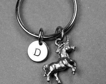 Unicorn keychain, unicorn charm, unicorn keychain, personalized keychain, initial keychain, initial keychain, hand stamped initial, monogram