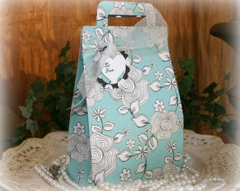 Teal and Black Floral Wedding Gift Box - FREE Shipping Large Birthday, Valentine's Day, Party Favor Gift Bag Wrap or Gift Box