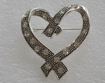 Silver Heart Brooch Pin with Crystals