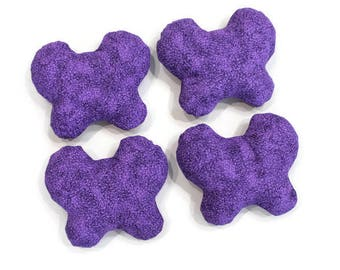 Purple Butterfly Shaped Bean Bags (set of 4) Large Shape Beanbags 6 inch Butterflies - US Shipping Included