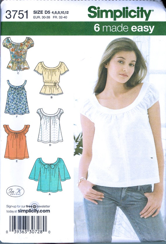Size 4-12 Misses\' Top Sewing Pattern - Scoop Neck Peasant Blouse ...