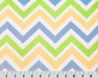 Baby Blue/Lime/Yellow/White -  Minky - by the half yard - Yard or Fat Half Cut