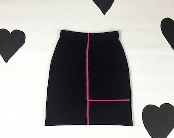 90's The Limited knit mini skirt 1990's high waist grunge Mondrian minimal pinup sweater skirt / pencil / wool / pinup / Made in Italy / M