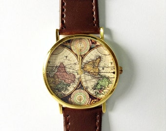 Mens watch world map watch watches for men vintage style map watch vintage style leather watch women watches boyfriend watch world map mens watch brown gumiabroncs Gallery