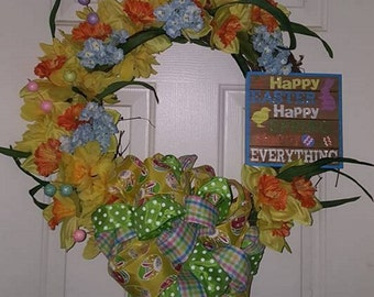 Easter grapevine weath, orange and yellow wreath, grapevine front door wreath, easter front door wreath, floral door wreath, door wreath