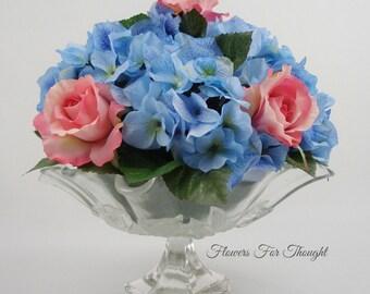 Hydrangea and Roses Table Centerpiece, FFT Original Design, Fancy Glass Dish, Silk Wedding Flowers Table Arrangement