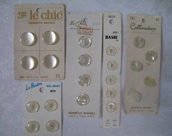 Five Cards of White Buttons for Your Art and Craft Projects