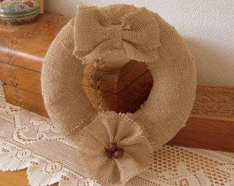 "Handmade Rustic Burlap Wreath - 10"""
