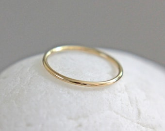 Solid Gold Ring, 14K Gold Ring, Solid Gold Band, Smooth Gold Stacking Ring, 14K Gold Wedding Ring, 16 Gauge Gold Ring, Thin Gold Ring