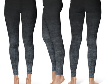Gray Ombre Leggings, Grunge Gray and Black Leggings, Ombre Tights, Yoga Leggings, Yoga Pants, Stretch Pants