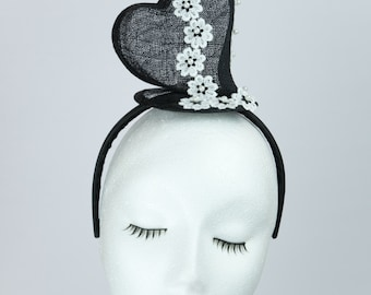 Ilean Fascinator & Matching bag - black sinamy - lace flowers, beads - special ocassion