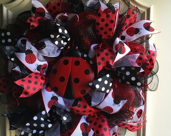 Red and Black Lady Bug Wreath