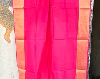 Fuscia Pink and gold Maheshwari cotton silk dupatta