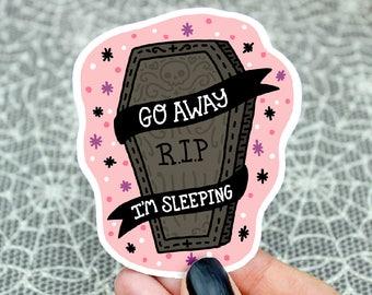 Goth Sticker, Go Away, Coffin Sticker, Pastel Goth, Halloween, Emo Sticker, Hydroflask Decal, Gift For Her, Holiday, Cute, Bullet Journal