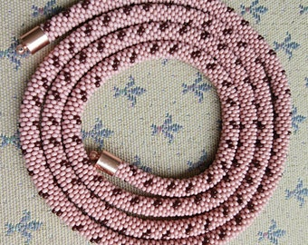 Handmade crocheted knitted beaded necklace