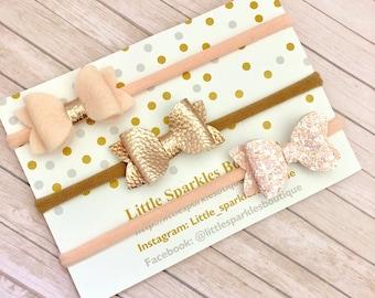 Rose gold hair bow, peach hair bow, baby bow, girls hair accessories, cake smash prop