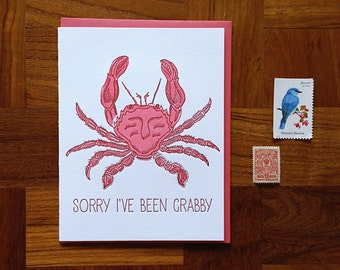 Sorry I've Been Crabby, Letterpress Note Card, Blank Inside