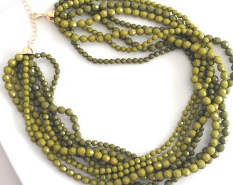 Moss Green Statment Necklace, Multi Strand Green Necklace, Two Tone Green Necklace, Beaded Green Necklace, Chunky Green Necklace