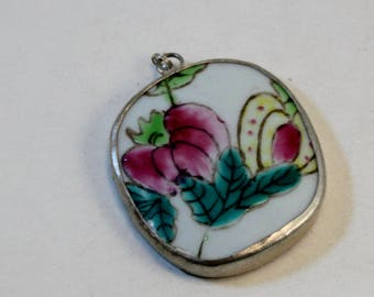 Ming Pottery Shard and Silver Oval Pendant, 49x40mm, Pink, Yellow and Green Flowers, Wholesale